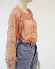 Load image into Gallery viewer, 70s sheer floral wild  rose  blouse with smocking