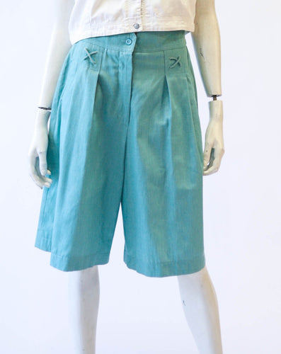 Green High Waisted Gaucho Shorts