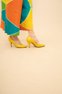 GUCCI yellow leather stilettos