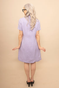 Lavender dotted 60s coatdress