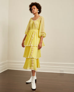 Yellow tiered daisy dress