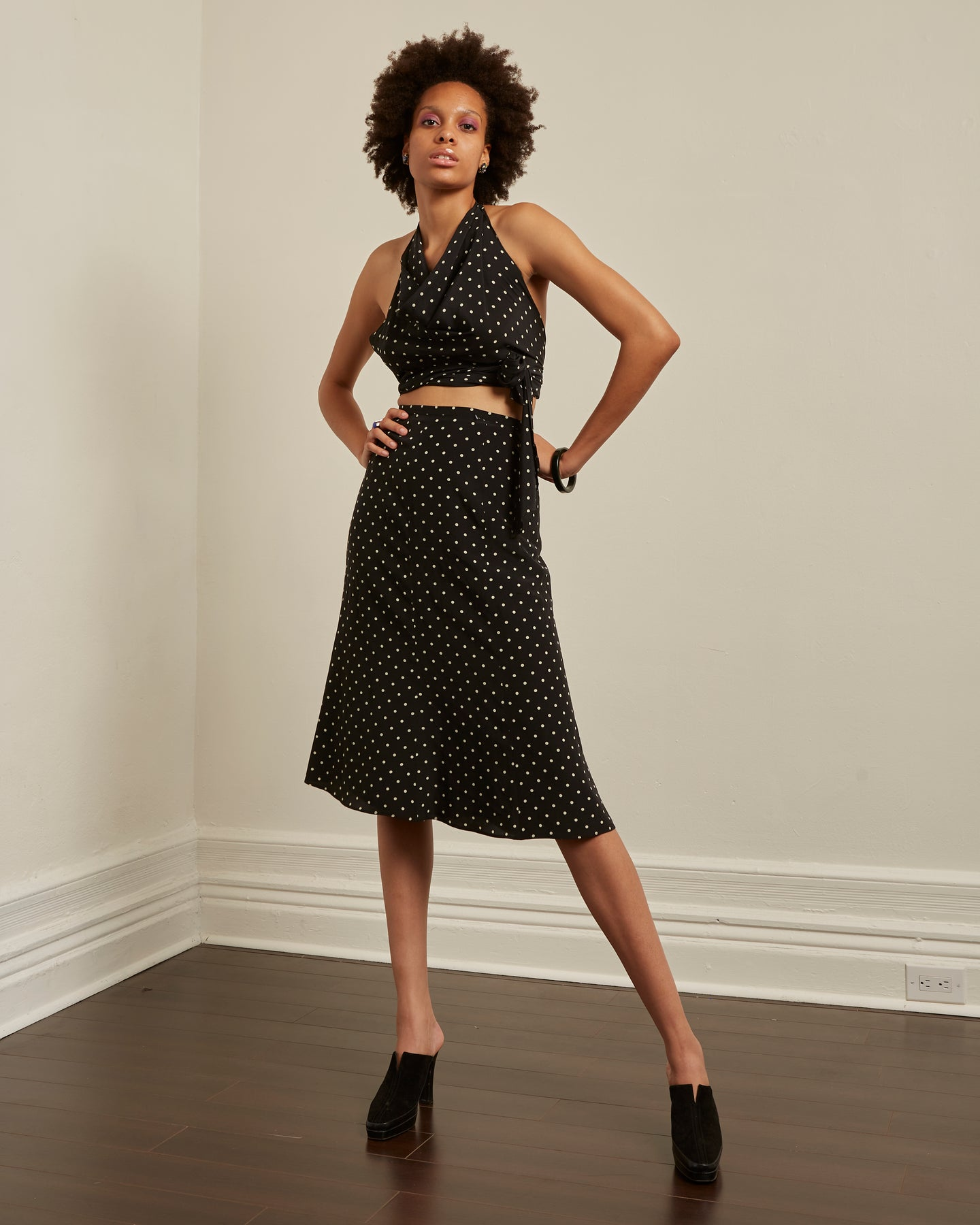 MAX MARA black silk polka two piece set