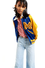 Load image into Gallery viewer, Blue & yellow satin letterman's jacket