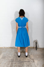 Load image into Gallery viewer, 80s blue and white dress
