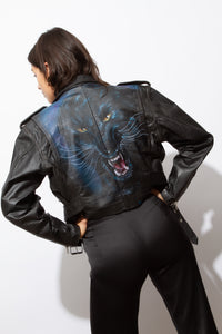Panther airbrush leather moto jacket