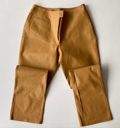 Low-rise tan leather pants