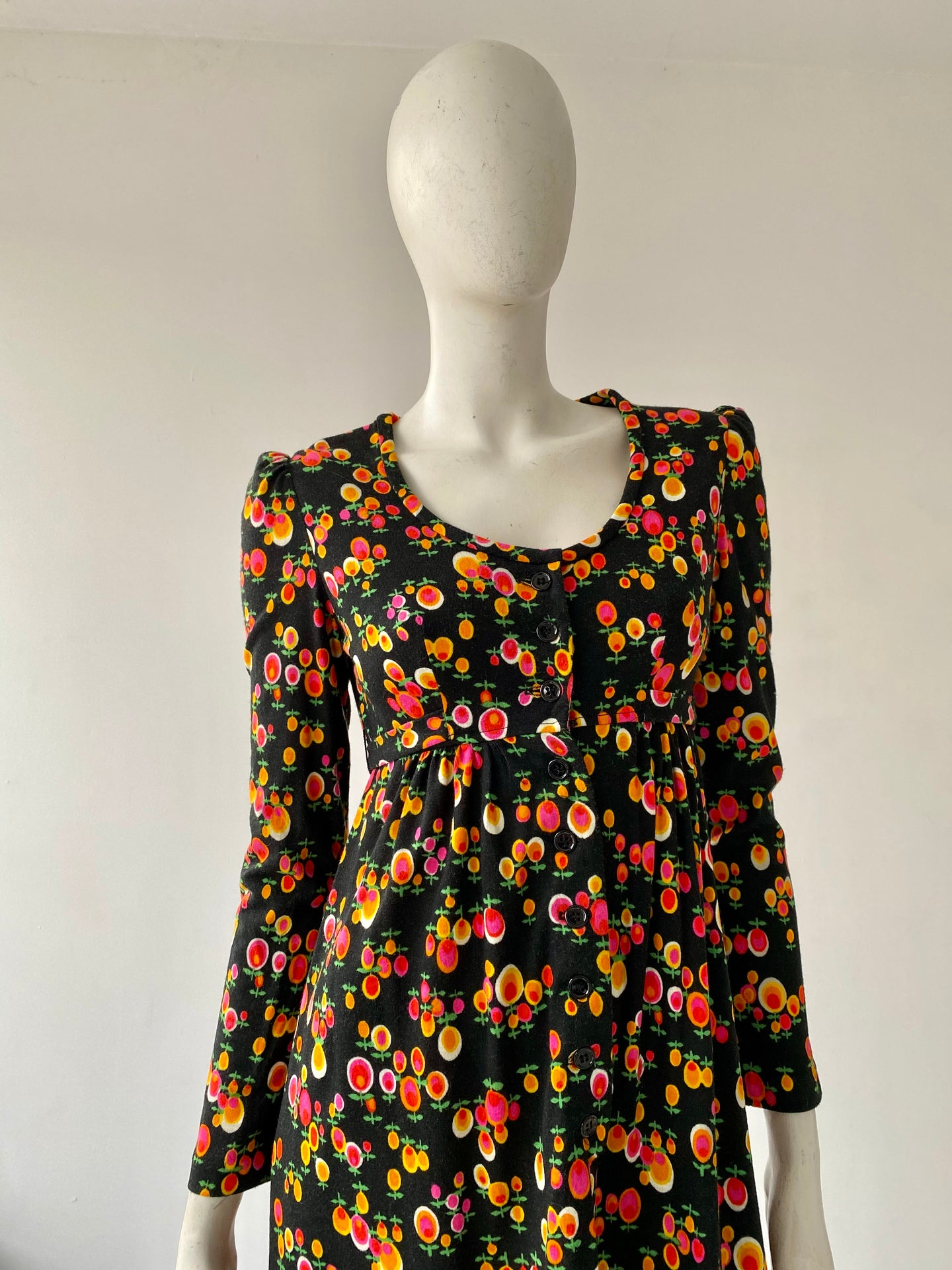 70s Floral Poly Flannel Maxi Dress
