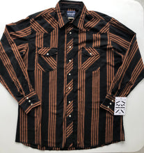 Load image into Gallery viewer, WRANGLER black & rust western striped shirt