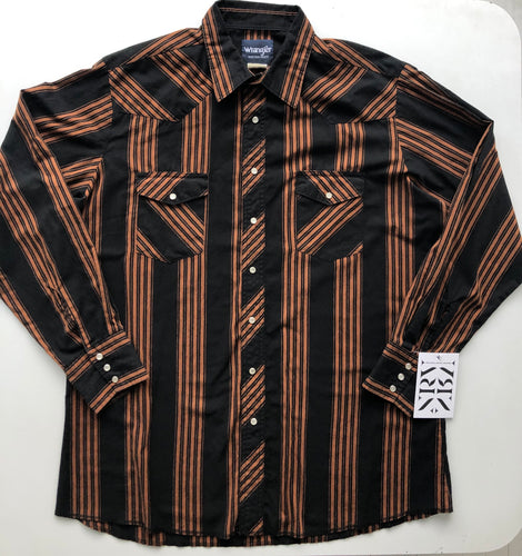 WRANGLER black & rust western striped shirt