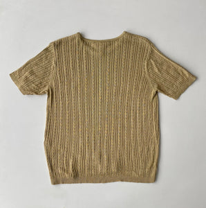 Beige Silk Knit Tee
