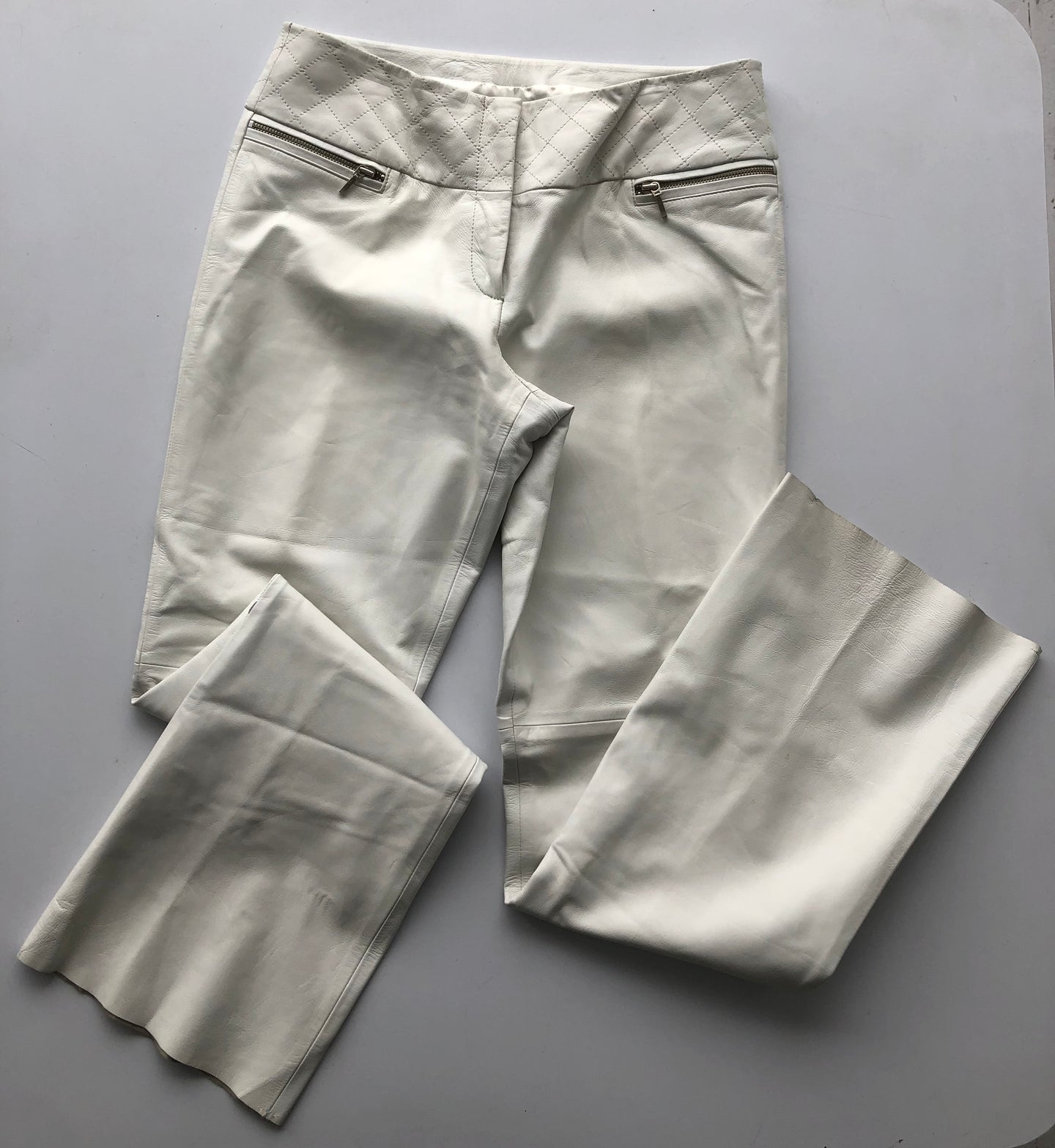 caché white leather pants - as is