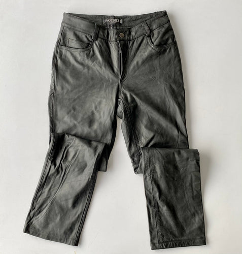 Black leather periscope pants