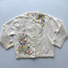 Load image into Gallery viewer, Mid Century embroidered wool & angora cardigan