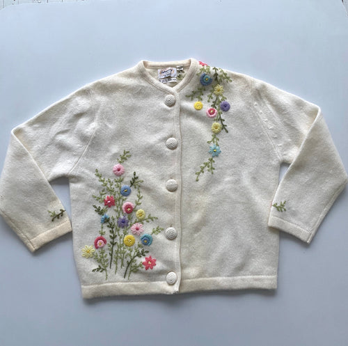 Mid Century embroidered wool & angora cardigan