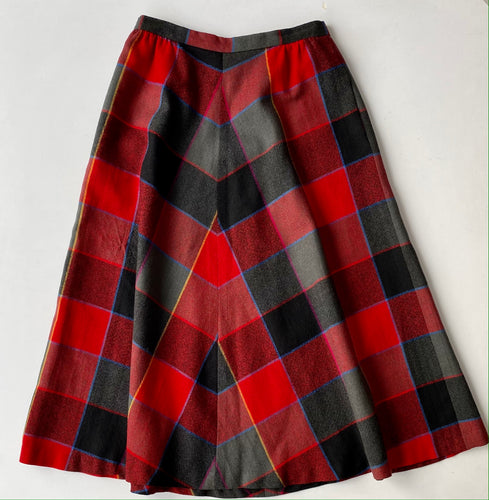 Plaid a-line wool midi skirt red grey