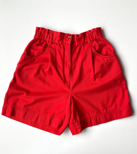 High- waist red shorts