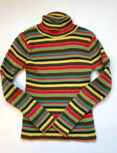 Load image into Gallery viewer, Rainbow Stripe Ribbed cotton turtleneck 90s
