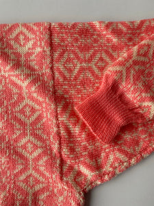 Hand knit pink intarsia wool sweater
