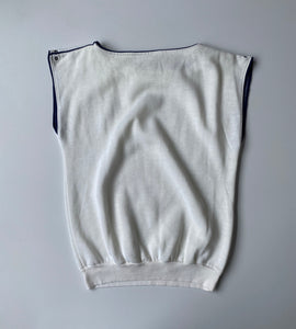 White sleeveless 80s sweatshirt with blue piping