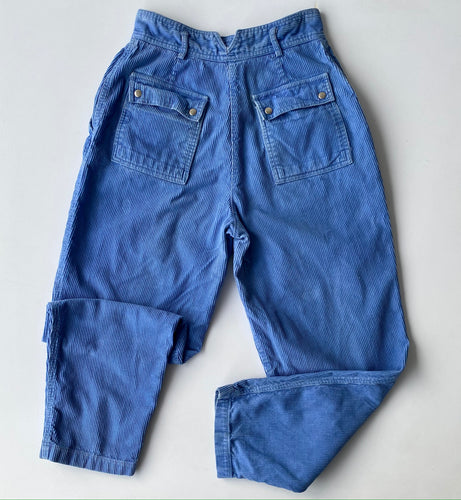 High waisted cornflower blue corduroy pants