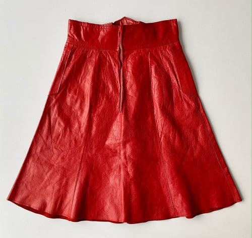 Red Leather A-Line Skirt