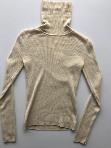 Cream wool turtleneck, as is- small mend