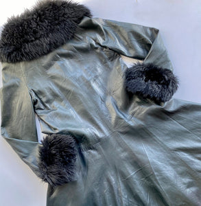 Leather and Shearling Forest Green Trench