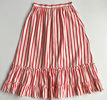 Load image into Gallery viewer, Red  candy stripe tièred ruffle button down midi skirt