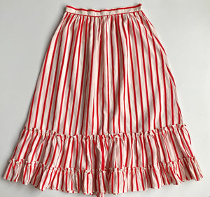 Red  candy stripe tièred ruffle button down midi skirt