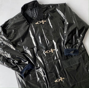 Black vinyl work jacket