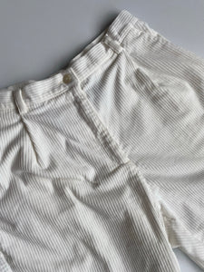 White corduroy high-waisted trousers
