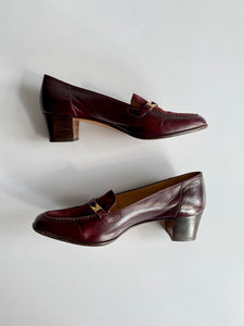 Leather heeled loafer