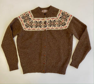 Intarsia scotish wool cardigan