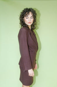 CLAUDE MONTANA cocoa skirt suit