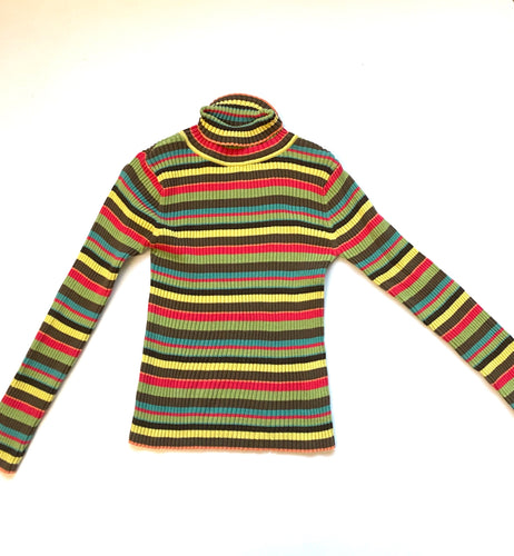 Rainbow Stripe Ribbed cotton turtleneck 90s