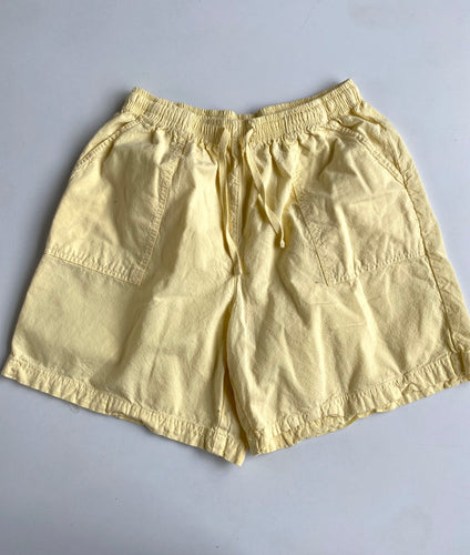 Baby Yellow Elastic Waist Cotton Shorts