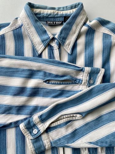 Blue and white stripe denim shirt