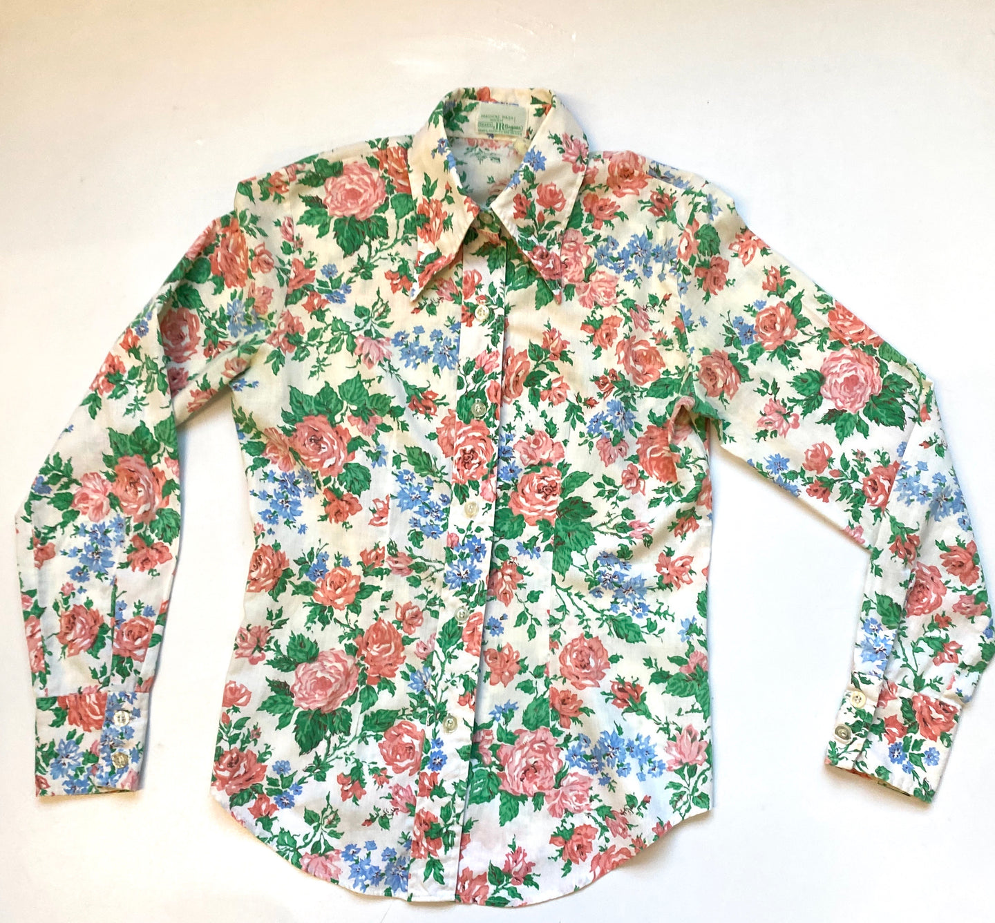 70s fitted floral shirt by Sears jr bazar