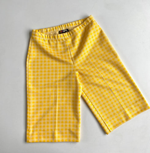 70s Yellow Grid doubleknit Longline Shorts