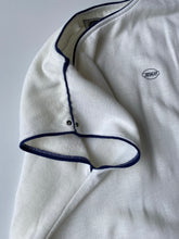 Load image into Gallery viewer, White sleeveless 80s sweatshirt with blue piping