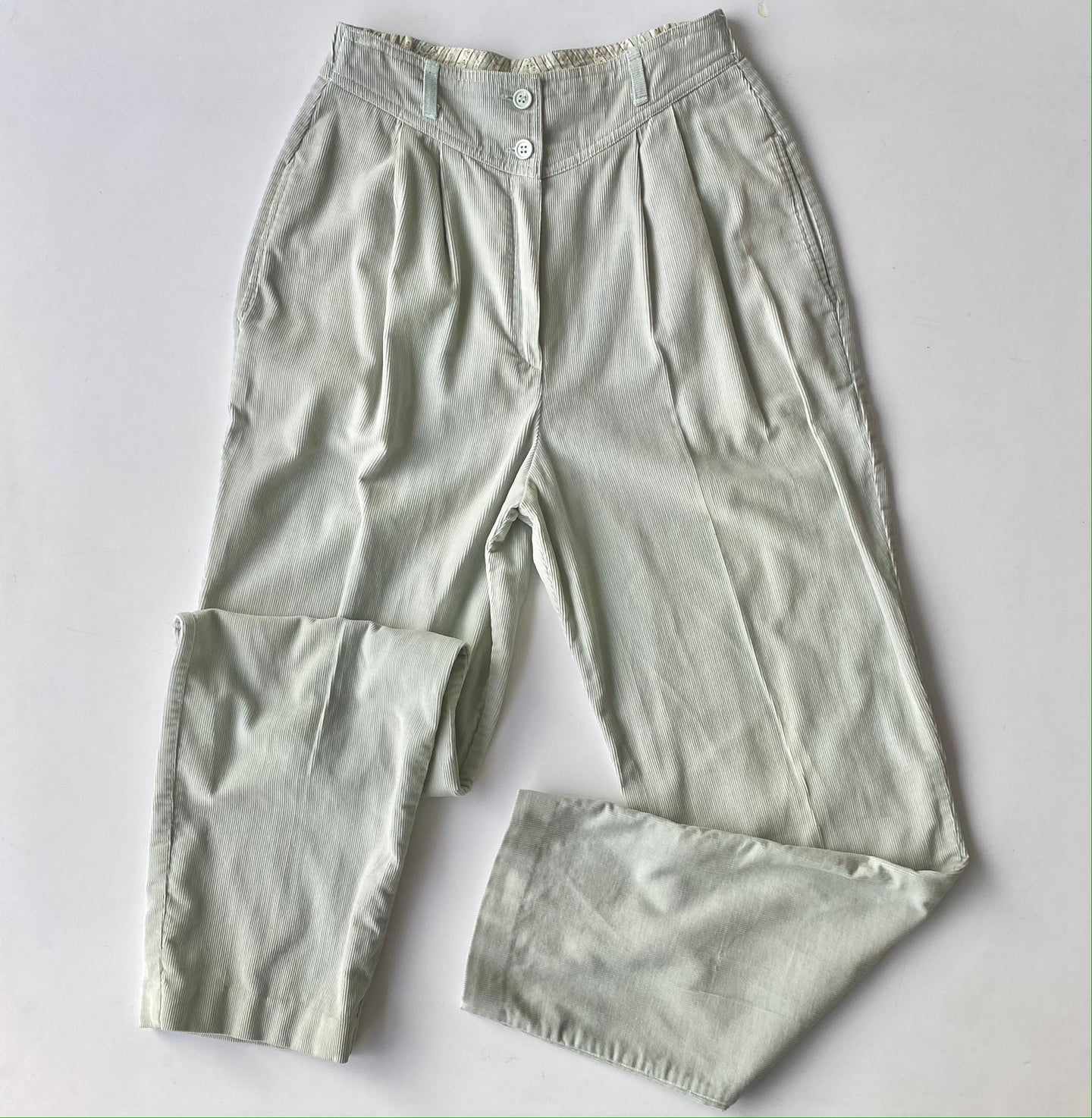 Pale mint high waisted fine wale treasures