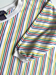 Rainbow stripe shirt 80s 3/4 sleeve