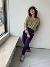 Load image into Gallery viewer, Purple suede pleated trousers