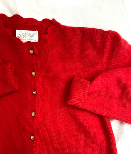 80s red angora puff sleeve cardigan by Lord and Taylor