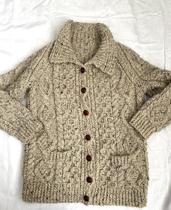 Handknit wool cable cardigan