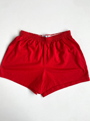 Red Cotton Gym Shorts with Elastic Waist