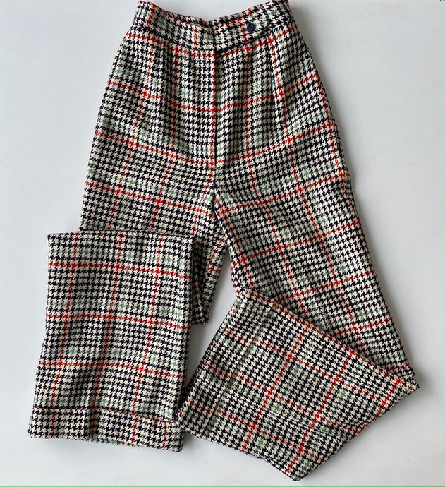 70s Houndstooth Wool Flared Trousers