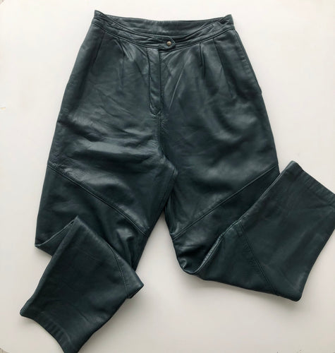 Petrol blue leather pants