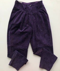 Purple suede pleated trousers