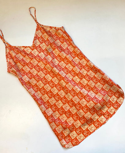 SILK BICYCLE PRINT SLIP Dress
